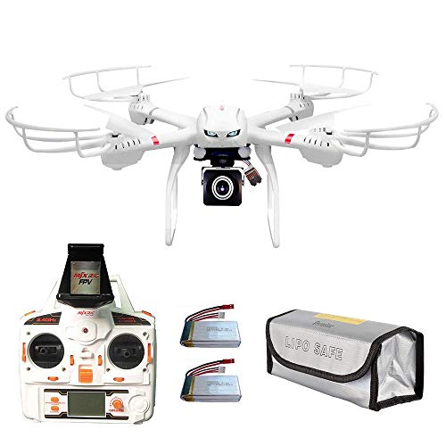 RRecomfit Upgraded X101 FPV Drone with Low Energy Warning (Voltage Checker Buzzer), 2 Batteries and Fire-Proof Bag, Camera Live Video HD 720P for Beginners, RC Quadcopter Drone RTF Drone Kit White