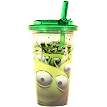 Silver Buffalo TO1584 Disney Pixar Toy Story LGMs Plastic Flip Straw Cold Cup, 16 oz, Multicolor