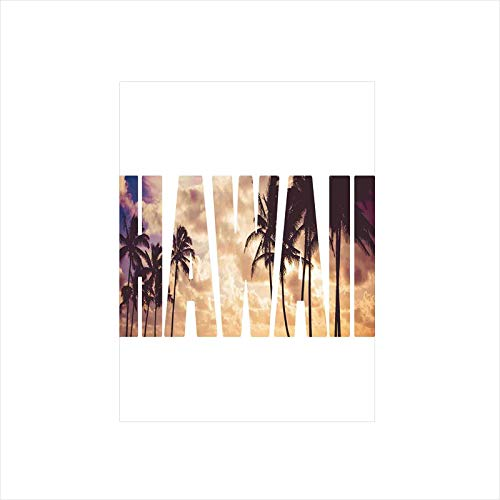 Decorative Privacy Window Film/Tropic Silhouette Palm Trees at Sunset Cloudy Sky Hawaii Typography Skyscape/No-Glue Self Static Cling for Home Bedroom Bathroom Kitchen Office Decor Brown Beige