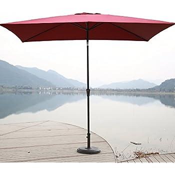 Amazon.com : Outsunny 6.5\' x 10\' Market Rectangle Patio Umbrella w ...