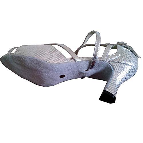 Mou Antidérapants Dames D'intérieur Fond 41eu Chaussons Chaussures Pour Latines Argentés De À Hccy Lustrés Danse 4x87zn7tq