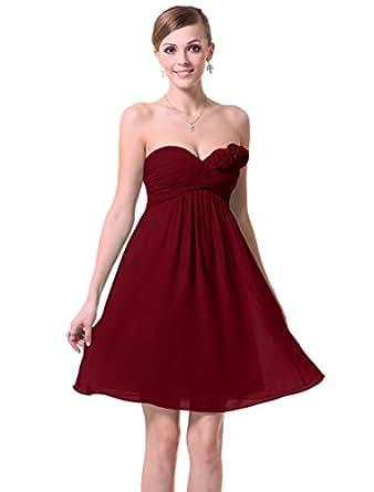 HE03543RD06, Red, 4US, Ever Pretty Strapless Flower Ruffles Padded Elegant Chiffon Bridesmaid Dress 03543