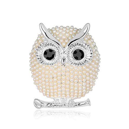 Silver Owl Pin - T-PERFECT LIFE Cute Christmas Elk Pearl Brooches for Women, Gold-Plated and Silver-Plated Christmas Deer Crystal Brooch, Lucky Reindeer Pin (Silver owl)