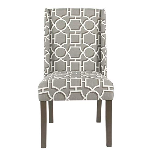 Cotton Dining Chair with Back Cushions - Upholstered Dining Chair with Solid Back - Set of 2 - Modern Gray Lattice ()