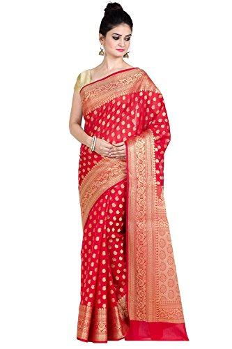 (Chandrakala Women's Red Cotton Silk Blend Banarasi Saree,Free Size(8888) )
