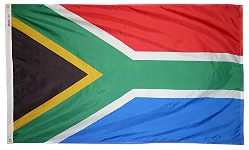 Annin Flagmakers Model 197565 South Africa Flag 3x5 ft. Nylon SolarGuard Nyl-Glo 100% Made in USA to Official United Nations Design Specifications. (South Africa Patio Set)