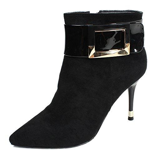 De Las De Cinturón Alto KHSKX Zapatos De Plus Martin Invierno Botas De black Cotton Gamuza Tacon Mujeres De Botas De Seguridad Mujer Fino Botas Nuevo Mujer Tacon wa7XUq