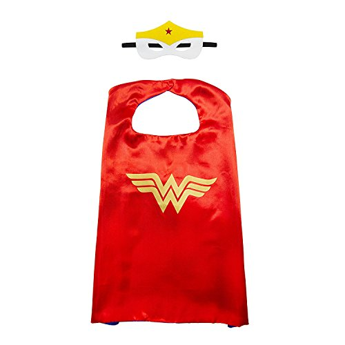 White sugar in summer Christmas Superhero Costume and Dress Up for Kids - Satin Cape and Mask (Wonder Woman) for $<!--$7.99-->