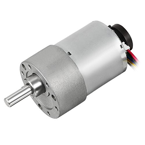 uxcell Gear Motor with Encoder DC 12V 800RPM Gear Ratio 6.25:1 D Shaft Metal Encoder Gear Motor Silver 37Dx49L mm for Robot RC Car Model DIY Engine Toy