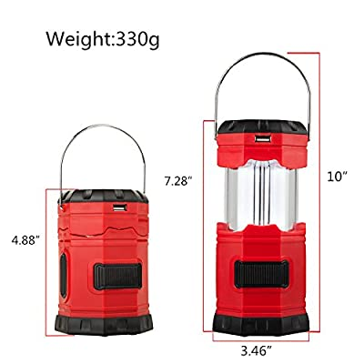 "TANSOREN Portable LED Camping Lantern Solar USB Rechargeable or 3 AA Power Supply, Built-in Power Bank for Android Charger, Waterproof Collapsible Emergency LED Light with S"" Hook"