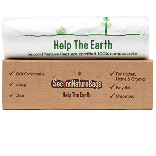 Second Nature Bags, Premium Certified 100% Compostable Biodegradeable, Extra Thick, Small Kitchen Food Scraps & Home Trash Bags (3G 100 Count)