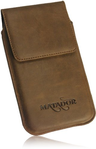 Matador Apple iPhone 6 / 6s (4.7) Slim Design Vintage Look Antik Echt Leder Tasche Handytasche Schutzhülle Etui LederCase Lederetui Matador Tabacco Braun mit Magnetverschluss Ausziehhilfe