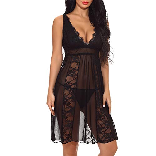 WUAI Womens Lingerie V-Neck Lace Babydoll Mesh Sleepwear Plus Size Bodysuit Nightwear(Black,Large)