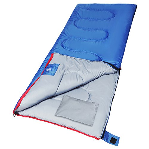 XL Outdoor Sleeping Bag with Pillow for Camping by REDCAMP,3-season Comfort 59°F/15°C,Blue 2lbs Filling with Compression Sack(86.5