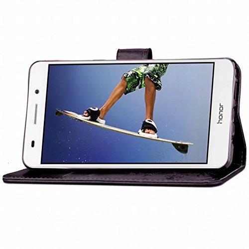 Yiizy Huawei Honor Holly 3 / Huawei Y6 II Funda, Tres Hoja Hierba Diseño Solapa Flip Billetera Carcasa Tapa Estuches Premium PU Cuero Cover Cáscara Bumper Protector Slim Piel Shell Case Stand Ranura p