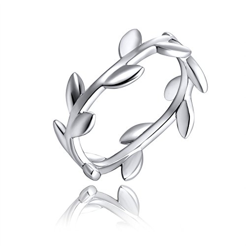 YH JEWELRY 925 Sterling Silver White Gold Plated Olive Branch Ring for Women Size 7