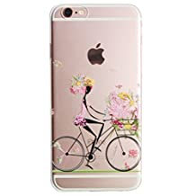 For iPhone 6 Case, iPhone 6s Case, Let it be Free TPU Silicone Gel Soft Bumper Clear Case Cover for Iphone 6 6S (bike)