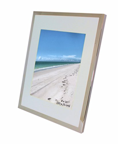 Iron Nickel Plated Shiny Dark Silver Color Photo Frame With Removable Mount - Takes A Photo Of 8 x 10 Inches (20 x 25 cm) - Or 11 x 14 - Plated Silver Dark