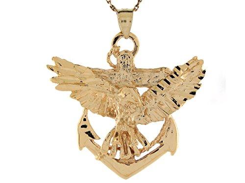 - Jewelry Liquidation 10k Yellow Gold Diamond Cut Patriotic Eagle and Anchor Charm Pendant