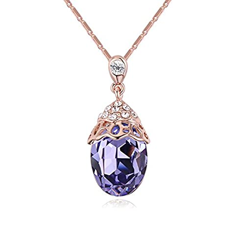 Gorgeous Jewelry Tanzanite Purple Austrian Crystal Color Scallop Shape Pendant Necklace Deluxe Female - Crystal Platinum Cake Stand