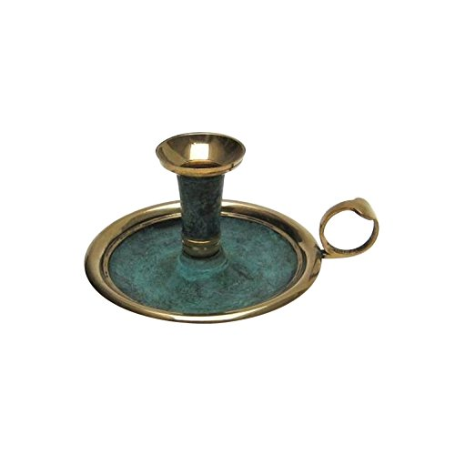 Solid Brass Candle Holder with Plate, Patina Finish - Nautical - Holder Patina Candle