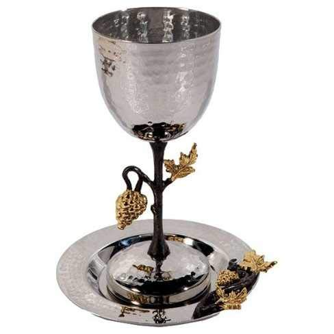 - Yair Emanuel Tall Hammered Kiddush Cup with Grape Branch