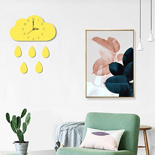 NIHAI Cloud Wooden Wall Clock, 12 x 7.5x1.9 inch, Simple Silence Home Wall Clock for Kids Room Living Room Nursery Classroom Home Decor, Easy to Install (Yellow)
