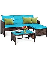 Tangkula Patio Corner Sofa Set 3 Piece, Outdoor Rattan Sofa Set, Includes Lounge Chaise, Loveseat & Coffee Table, Patio Garden Poolside Lawn Backyard Furniture