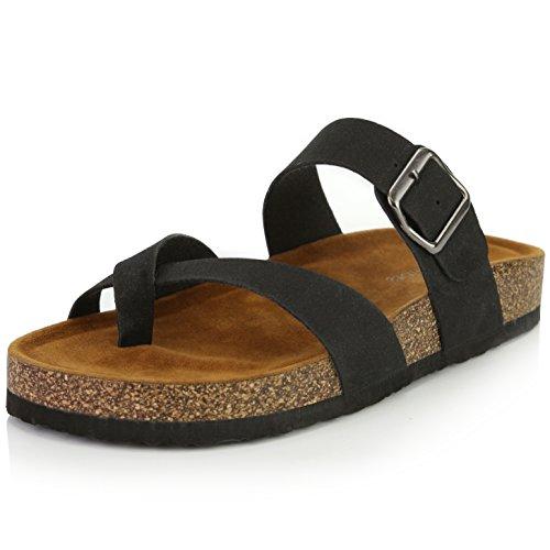 Metallic Strappy Flip Flop Sandal - DailyShoes Women's Fashion Flat Thong Strap Buckle Sandal Shoes, Black PU, 7.5 B(M) US