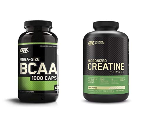 Optimum Nutrition Instantized BCAA Capsules, Keto Friendly Branched Chain Essential Amino Acids with Micronized Creatine Monohydrate Powder, Unflavored, Bundle