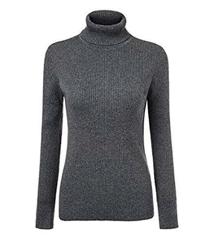 Fengtre Women's Turtleneck Cashmere Elastic Long Sleeve Slim-fit Pullover Knit Sweater