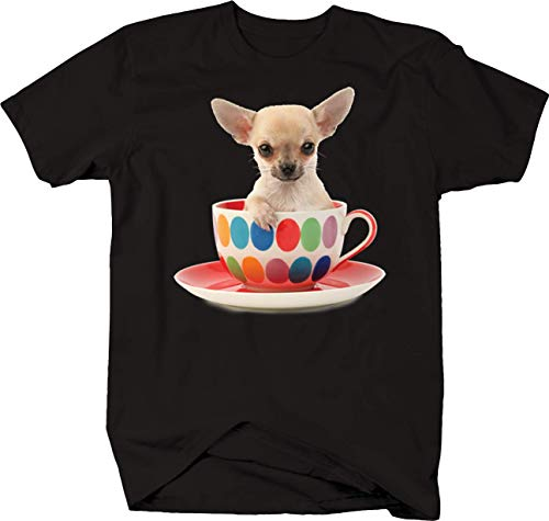 (Chihuahua Dog Sitting in Colorful Dot Coffee Tea Mug Funny Cute Tshirt - Medium)