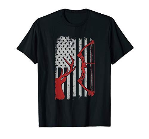 Deer Hunting T Shirt - American Flag Bowhunting Lover