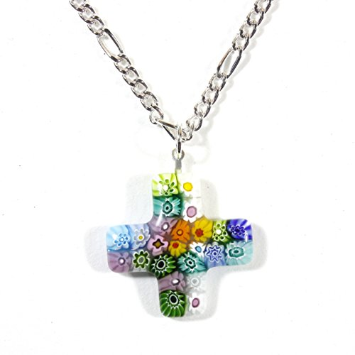 Style-ARThouse God Loves The Daisies, Murano Glass Millefiori Greek Cross Necklace, 18 Inch