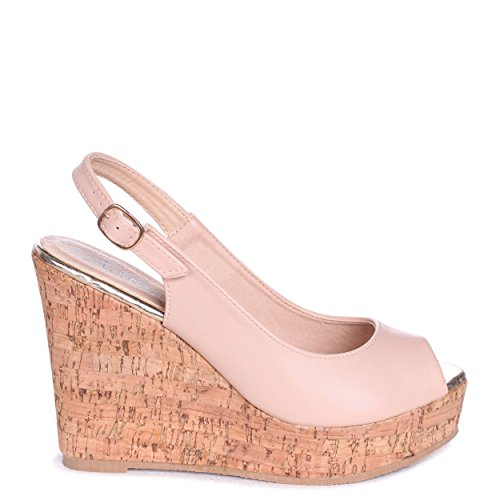 Linzi Clara - Nude Sling Back Cork Wedge with Peep Toe Nude PAbRIrq