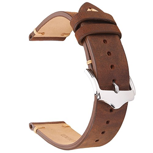 EACHE 22mm Genuine Leather Watch Band Brown Crazy Horse Leather Replacement Straps (Calfskin Watch Band)