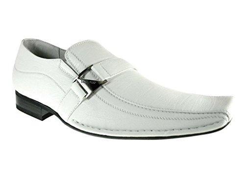 Delli Aldo Men's 19231-White Buckle Square Slip on Loafers, White, 11