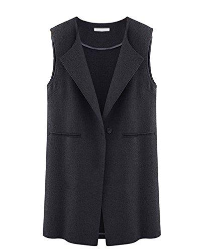 Gilet Buckle Blazer A Femme Noir SaiDeng Sans Revers Manches Longue Veste ScqCg6w