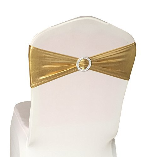 50PCS Spandex Chair Sashes Bows Elastic Chair Bands with Buckle Slider Sashes Bows for Wedding Decorations (Gold) -