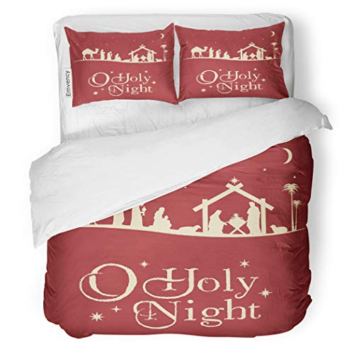 SanChic Duvet Cover Set Holy Christmas Nativity Scene Silhouette Family Manger Baby Decorative Bedding Set with 2 Pillow Cases Full/Queen Size]()