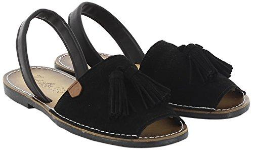 KOALA Mercadal BAY Femme Ouvert Sandales 002 Bout Noir Negro q5qrT