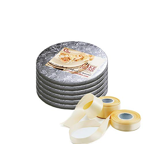 Cake Drums Round 8 Inches - Sturdy 1/2 Inch Thick - Professional Smooth Straight Edges - FREE Satin Cake Ribbon (Silver, 6-Pack)