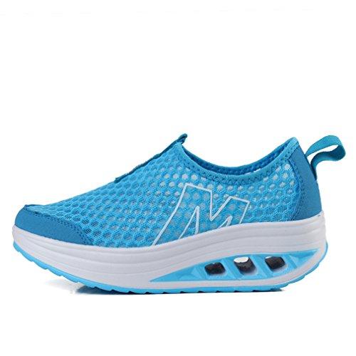 Annabelz Kvinnor Mesh Skor Halka På Toning Skor Fitness Promenadskor Träna Sneaker Blue1