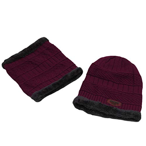 Boy vino Sombrero Lefu Tejida Boy tinto Men Winter Warm Knitted Skin de Friendly Circle Fashion Gorrita Bufanda and aFwdqFZ