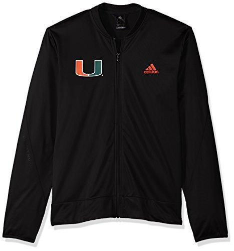 Miami Hurricanes Jacket - adidas NCAA Miami Hurricanes Mens On Court Warm-Up Jacketon Court Warm-Up Jacket, Black, Medium
