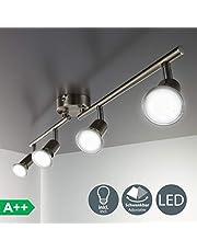 B.K.Licht - Lámpara de techo con 4 focos LED GU10, focos ajustables y giratorios para interiores, de luz blanca cálida, 3W y 250 lúmenes, 3000K, forma recta en barra, color níquel mate