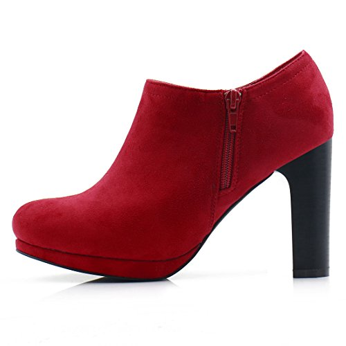 Deep Round Red Boots Allegra K Women's Toe Ankle High Heel Zn7Fq8