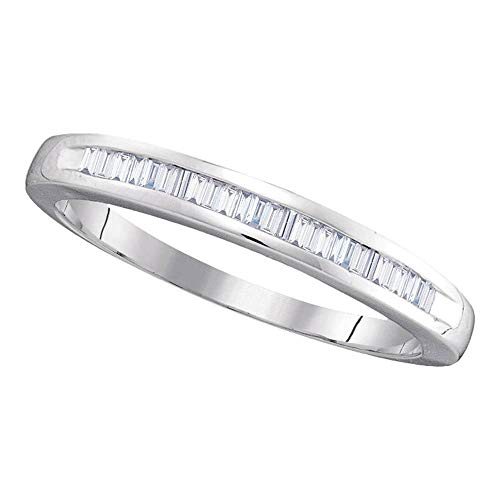 - 14kt White Gold Womens Baguette Diamond Wedding Band Ring 1/4 Cttw