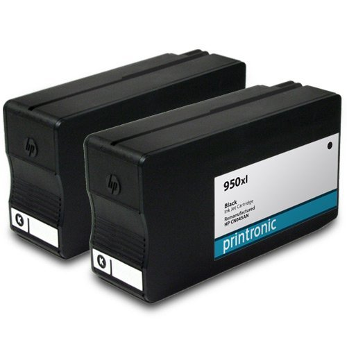 Printronic Remanufactured HP 950xl CN045AN 2 Black for OfficeJet Pro 251dw OfficeJet Pro 276dw OfficeJetPro 8100 OfficeJetPro 8600 OfficeJet Pro 8600 Plus OfficeJet Pro 8600 Premium Ink Cartridges for Inkjet Printers (2 Pack)
