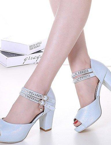LFNLYX Zapatos de mujer-Tacón Robusto-Tacones / Comfort / Innovador / Botas a la Moda / Zapatos y Bolsos a Juego / Zapatillas-Plantillas y Blue